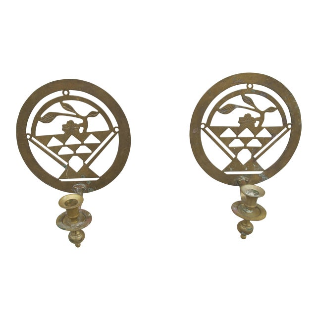 Brass Art Deco Candle Holders - A Pair - Image 1 of 5
