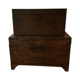 Wooden Stacking Trunks - A Pair