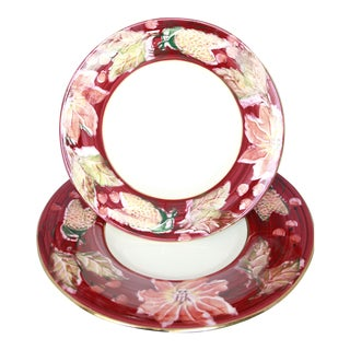 Italian Porcelain Poinsettia Holiday Serving Bowl and Plate