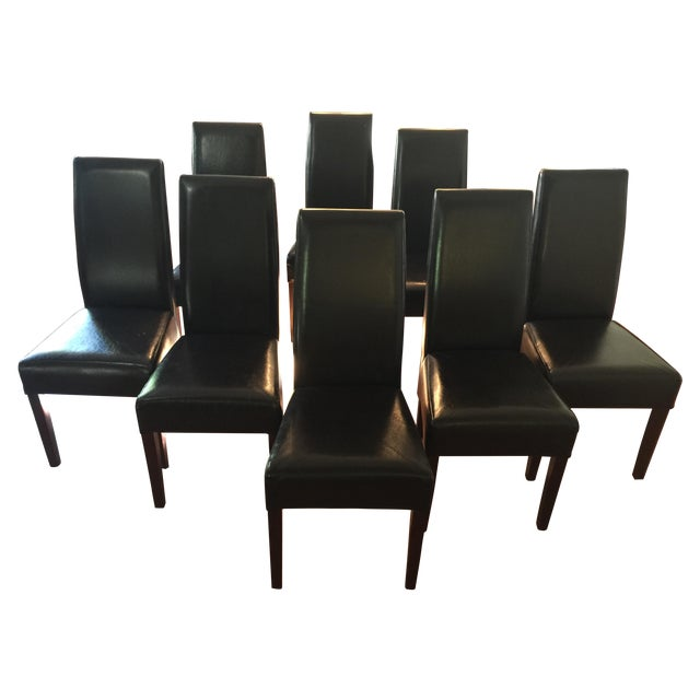 Parson Style Espresso Leather Dining Chairs - 8 - Image 1 of 6