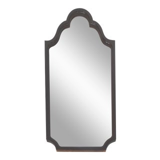 Mahogany Curved Wood Beveled Mirror c1920