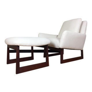 Jens Risom Mid-Century Lounge Chair & Ottoman