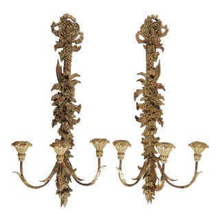 Vintage Italian Palladio Carved Wood Candle Sconces - A Pair