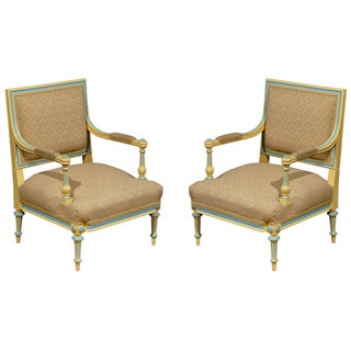 Painted Directoire Style Armchairs - a Pair