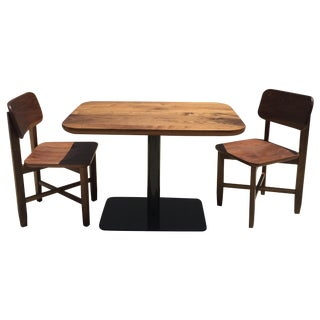 Custom Made Solid Walnut Cafe Table & Chairs - S/3