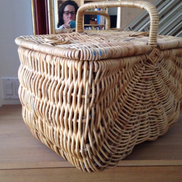 Handmade Wicker Picnic Basket - Image 4 of 5