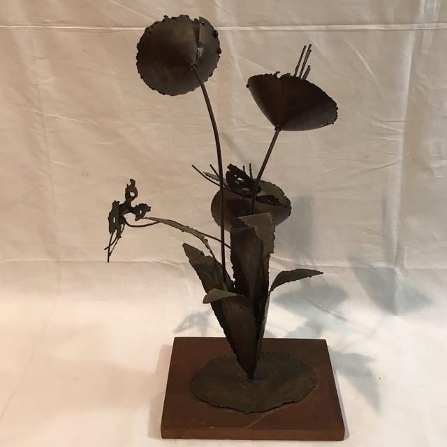Brutalist Floral Metal Sculpture - Image 4 of 11