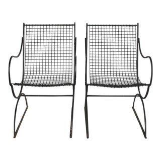 Vintage French Wire Garden Armchairs