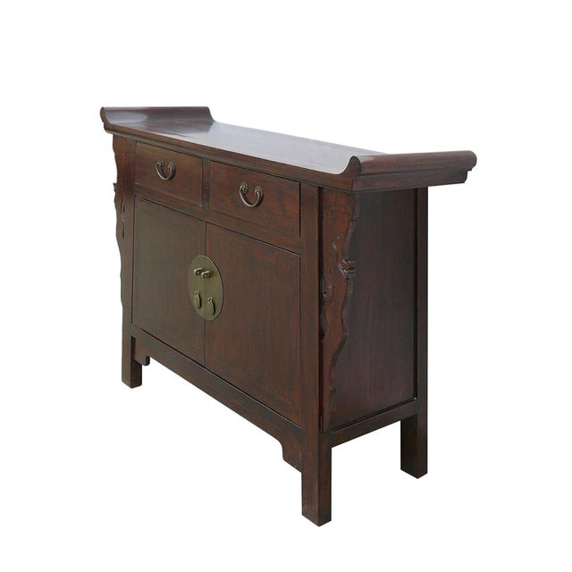 Asian Chinese Brown Cabinet Side Altar Table - Image 3 of 5