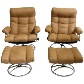 Ekornes Norway Lounge Chairs & Ottomans - A Pair