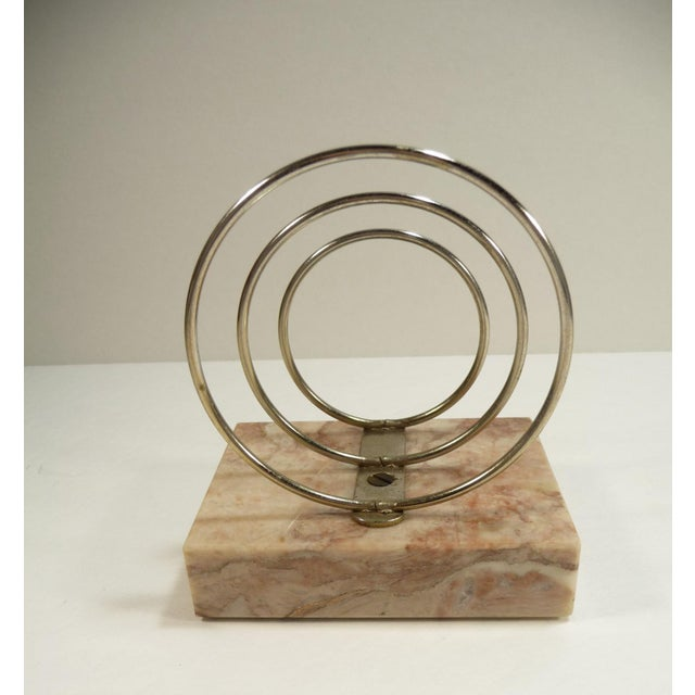 Vintage Retro Mid-Century Letter Organizer Chrome Rings on Marble - Image 5 of 7