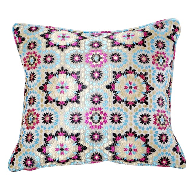Moroccan zellig fabric throw pillow chairish - Fabric for throw pillows ...