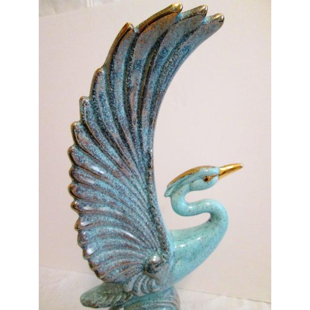 Image of Midcentury Aqua & Gold Heron Bird
