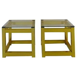 Brass & Glass Parsons End Tables