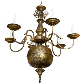 French Gold Colored Repousse' Six-Arm Chandelier