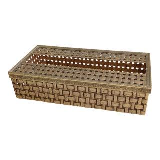 Vintage Mid-Century Metal Weave Tissue Box