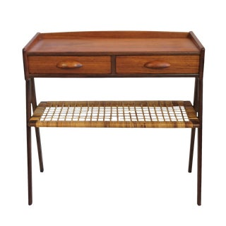 Danish Two Drawer Side Table with Shelf
