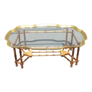 LeBarge Style Scalloped Brass & Glass Topped Faux Bamboo Coffee Table