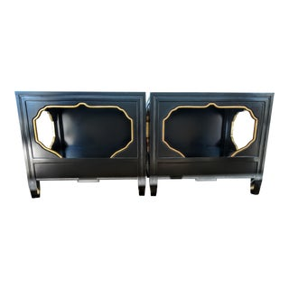 Black Side Tables With Gold Trim - A Pair