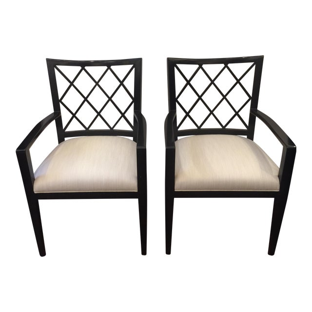 Robert Bryan Home Ebonized Arm Chairs- A Pair - Image 1 of 7