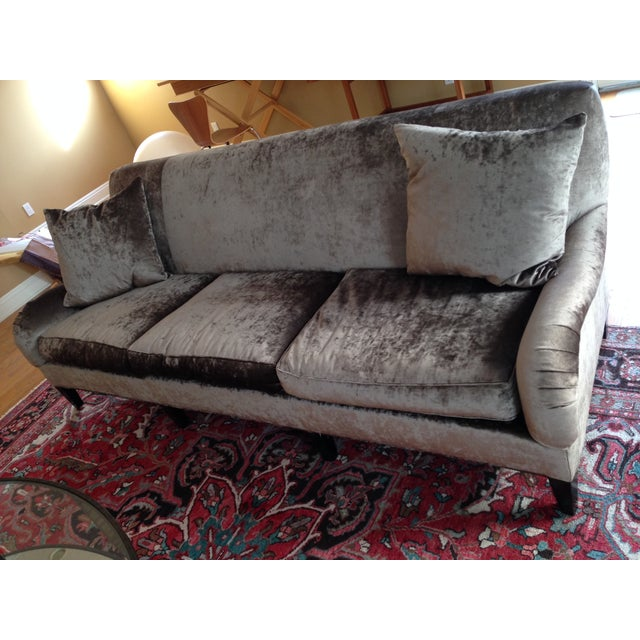 Image of Hickory Chair Emory Sofa in Silver/Grey Velvet