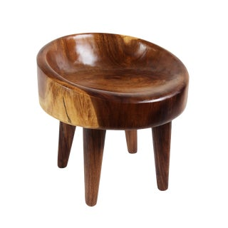 Albizia Two Tone Wood Stool Seat