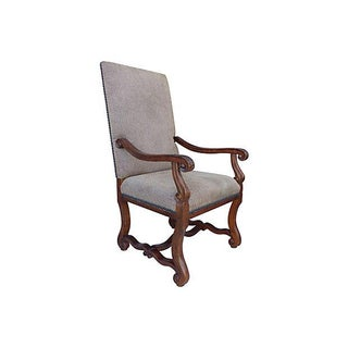 Carved Provential High-Back Antique Lounge Chair