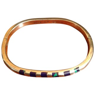 Vintage Sterling Bangle with Azurite Inlay
