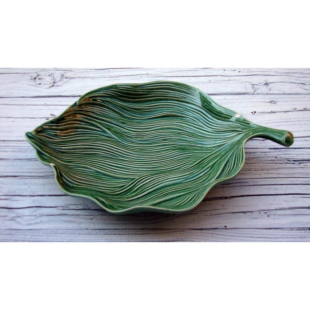 Antique Portuguese Green Leaf Majolica Ceramic - Image 2 of 10