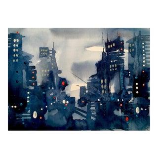 "Original ""Gotham"" Cityscape Watercolor Painting"