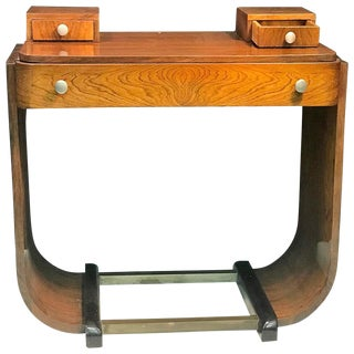 STUNNING PAUL FRANKL STYLE ART DECO U-BASE WOOD AND NICKELED BRONZE CONSOLE
