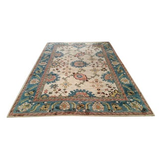 6′9″ × 9′10″ Antique Turkish Wool Oushak Handmade Knotted Rug - Size Cat. 6x9 7x10