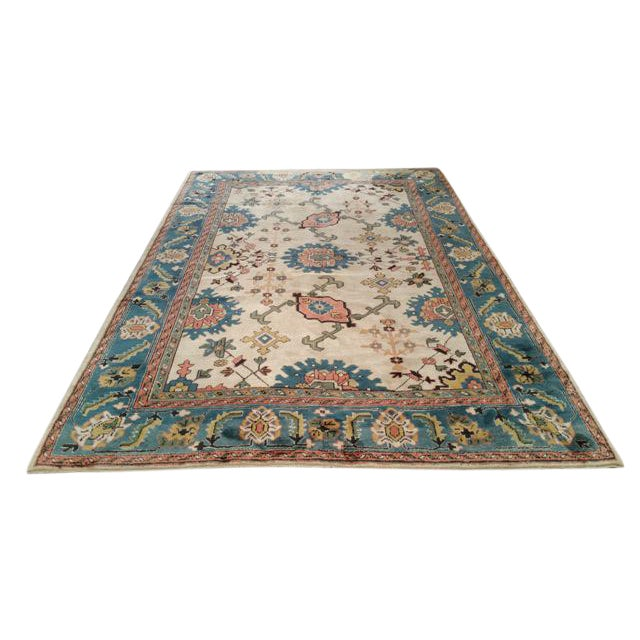 6′9″ × 9′10″ Antique Turkish Wool Oushak Handmade Knotted Rug - Size Cat. 6x9 7x10 - Image 1 of 4