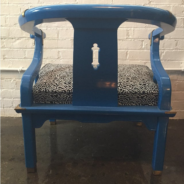 Century Furniture Electric Blue Asian Style Chair - Image 6 of 8