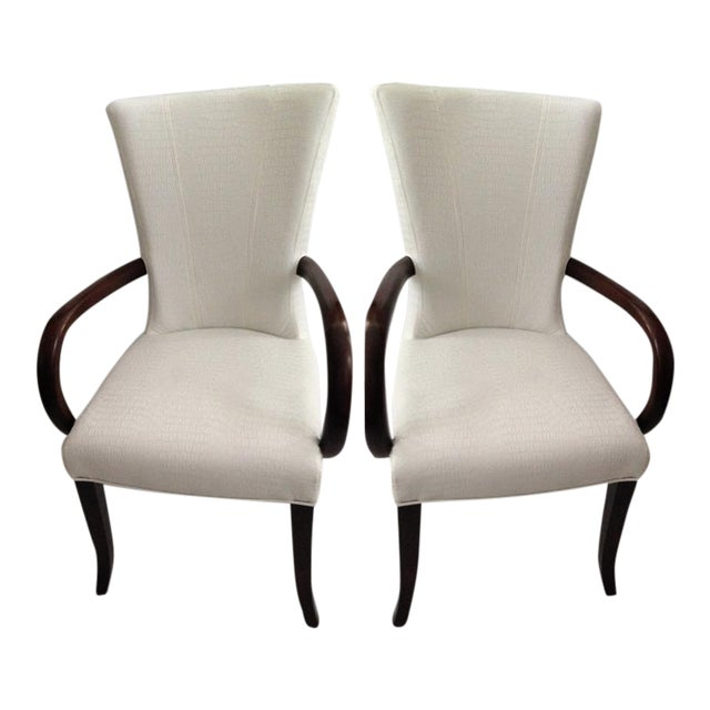 Faux Crocodile Leather Italian Accent Chairs - a Pair - Image 1 of 6