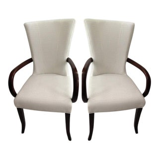Faux Crocodile Leather Italian Accent Chairs - a Pair