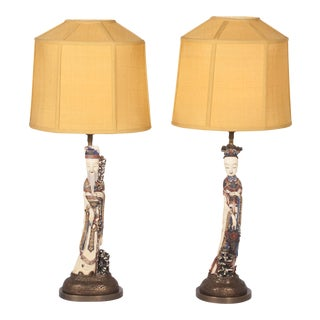 Pair of Carved Antique Oriental Figure Table Lamps
