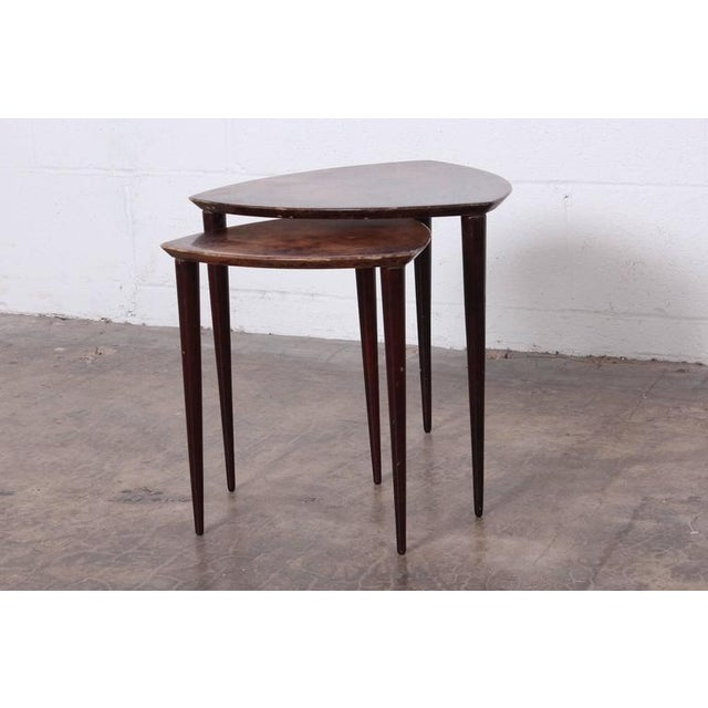 Pair of Goatskin Nesting Tables by Aldo Tura - Image 4 of 10