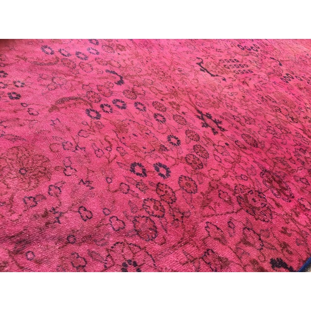 Hot Pink Overdyed Runner Rug - Image 4 of 9