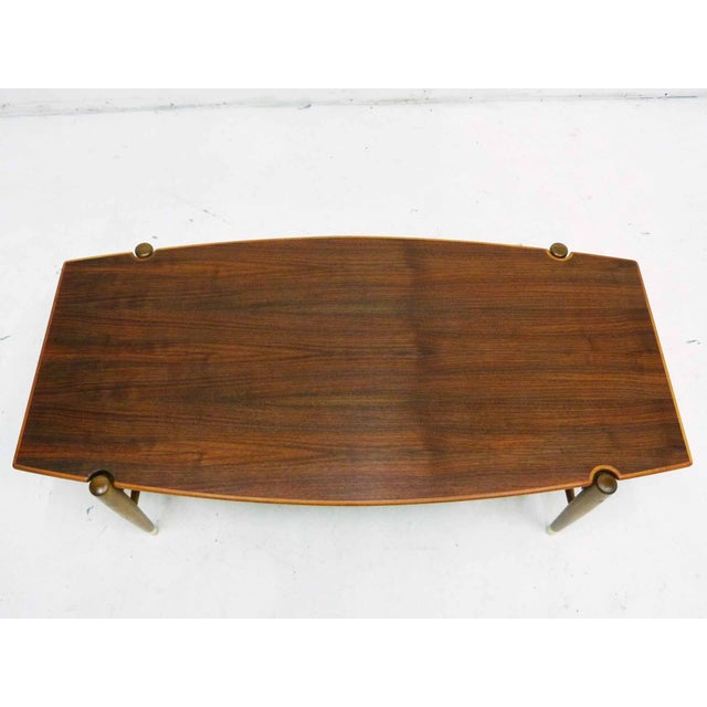Dux Mid-Century Coffee Table with Cane Shelf - Image 3 of 10