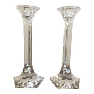 Pentagonal Crystal Candleholders - a Pair