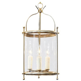 Vintage French Curved Glass Brass Lantern