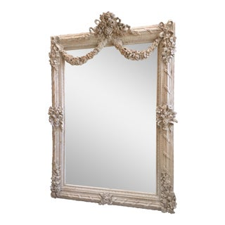 Antique Style White Washed French Mirror