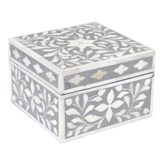 Indian Bone Inlaid Gray Jewelry Box