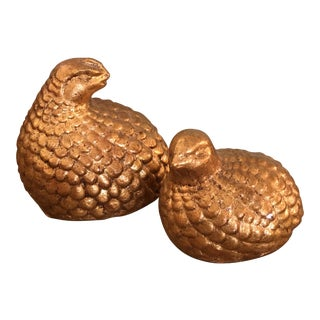 Vintage Gold Quail Figurines - A Pair