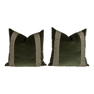 Moss Green Velvet Greek Key Pillows - a Pair