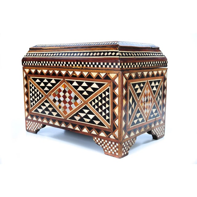 19th Century Syrian Inlaid Wooden Treasure Chest - Image 4 of 9