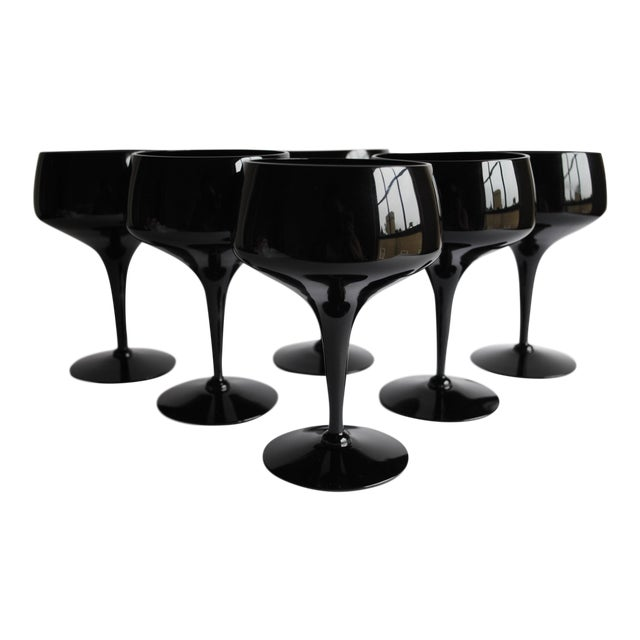 Mid-Century Black Cocktail Glasses - Set of 6 - Image 1 of 4