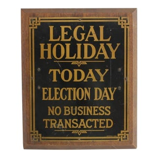 "1910s Brass Bank Sign ""Legal Holiday"""