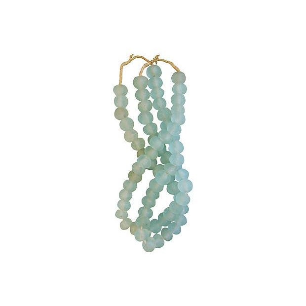 Image of Icy Teal Jumbo Sea Glass Beads - Set of 2 Strands